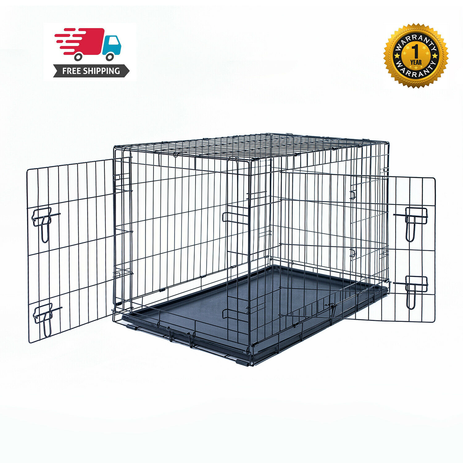 "30"" Dog Crate Kennel Folding Pet Cage Metal 2Door With Tray"