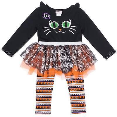 Infant & Toddler Girls Black Cat Kitty Halloween Outfit Shirt & Leggings - Black Cat Halloween Outfit