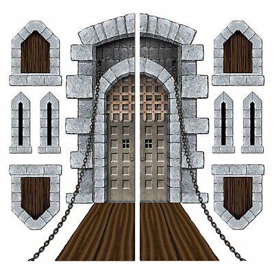 Medieval Castle Door Windows Cutouts Scene Setter Photo Props Plastic Backdrop