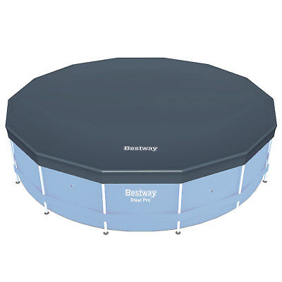 Bestway 58248 Round PVC 14 Foot Pool Cover for Above Ground Pro Frame Pools
