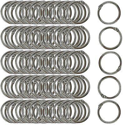 Clipco Book Rings Small 1-Inch Nickel Plated Metal (100-Pack) - Metallic Book Rings