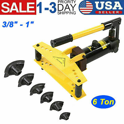 Pipe Bender 6 Ton Manual Hydraulic Tube Bending 6 Dies Tubing Exhaust Tools New