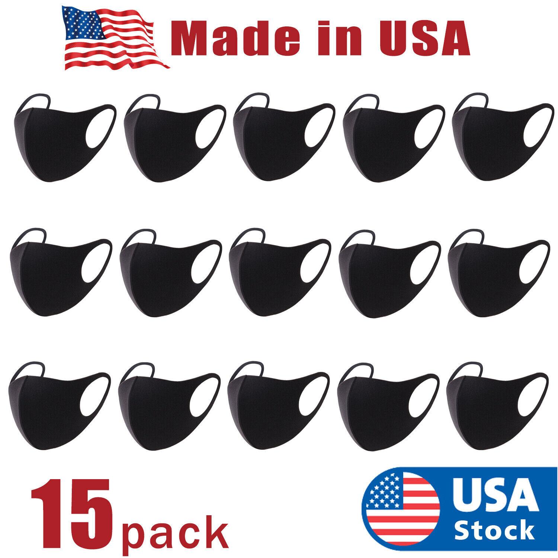 15pcs Black Face Mask Fashion Reusable Washable Cover Mask Men Women Made USA Accessories