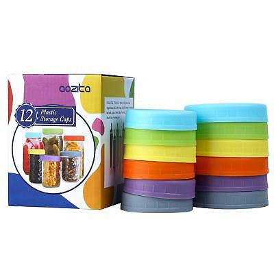 Aozita 12 Piece Colored Plastic Mason Jar Lids for Ball and More - 6 Regular
