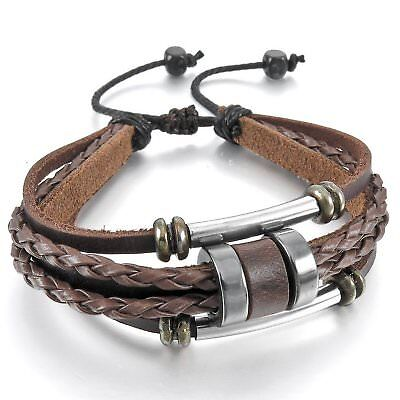 MENDINO Men's Women's Alloy Leather Bracelet Braided Cuff Wrap Bangle Adjustable