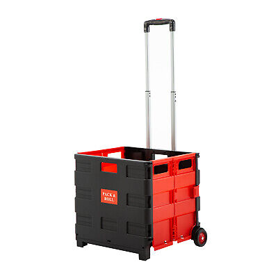Folding Two-wheeled Trolley Shopping Cart Collapsible Hand Rolling Crate Plastic