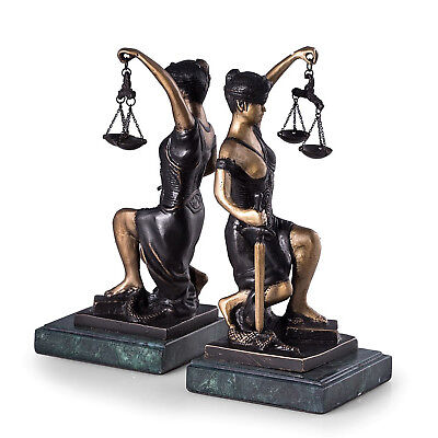 BOOKENDS - LADY JUSTICE BOOKENDS - BRONZE & MARBLE - LEGAL - LAWYER