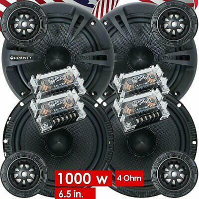 (2) Pairs Gravity 600C 6.5-Inch 2-Way Car Audio Component Speaker System 6-1/2in