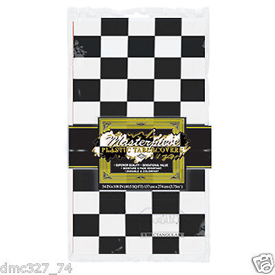 RACING Alice Wonderland 50s Party Decoration BLACK WHITE CHECKERED Table Cover