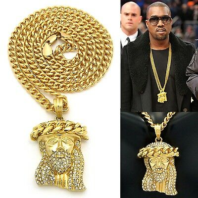 MENS ICED OUT HIP HOP GOLD JESUS FACE PENDANT W/ 24