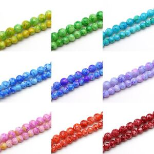 Baked-Beads-Round-Opaque-Glass-Spacers-Choose-Color-amp-Size-6mm-8mm