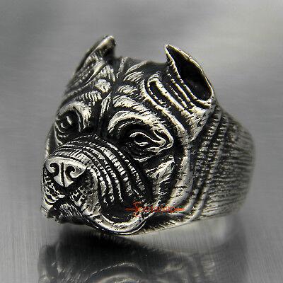 Mode Herren Junge Pitbull Hund Silber 316L Edelstahl Ring Schmuck 1pc WS6 (Pitbull Schmuck)