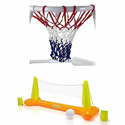 Swimline Super Hoops Floating Pool Basketball Game + Volleyball Game with Balls