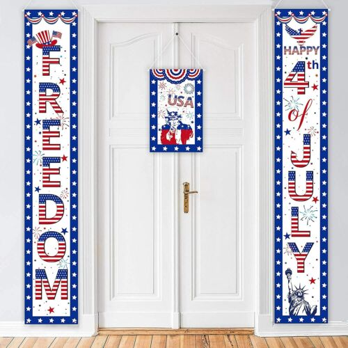 3PCS  4Th/Fourth Of July Decorations Patriotic Banners Door Decor Red White Blue