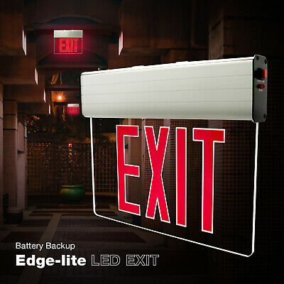 New Exit Sign Emergency Led Light - Red Compact Combo Hi Output Ul Usa Seller