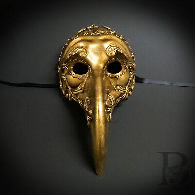 Vintage Gold Plague Doctor Venetian Mask Laser Cut Long-Nosed Masquerade Mask (Venetian Doctors Mask)