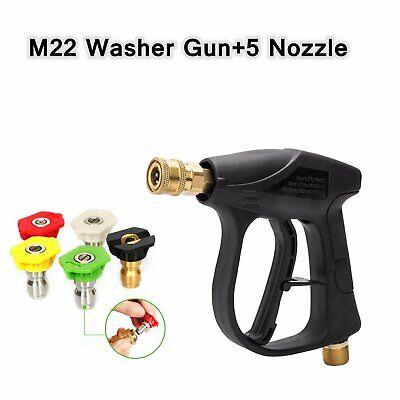M22 High Pressure Washer Trigger Spray Gun Water Jet Lance 5pcs Nozzle Tips
