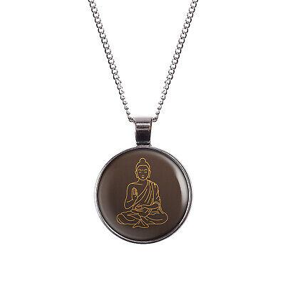 Buddha Meditieren (Mylery Hals-Kette mit Motiv Meditieren Yoga Buddhismus Buddha Sitzt silber oder )