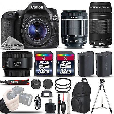 Canon EOS 80D DSLR Camera with 18-55mm STM Lens + 75-300 III + 50mm 1.8 + 64GB