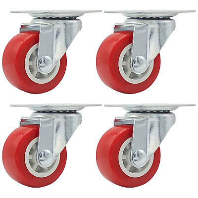 Lot Of 4 1.5 Low Profile Caster Wheels Soft Rubber Swivel Caster Red
