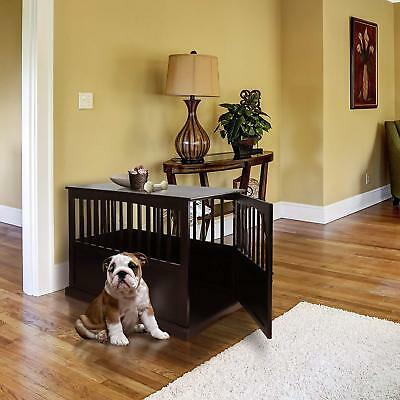 Wooden Dog Crate Home Decor Pet Kennel Cage Comfortable End Table Apt Espresso