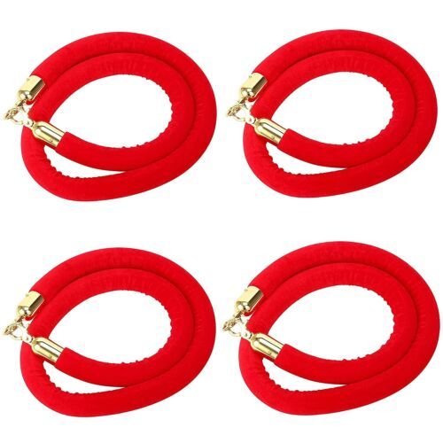 4 PCS  59 Inch Velvet Rope Crowd Control Stanchion Post Queue Line Barrier Red