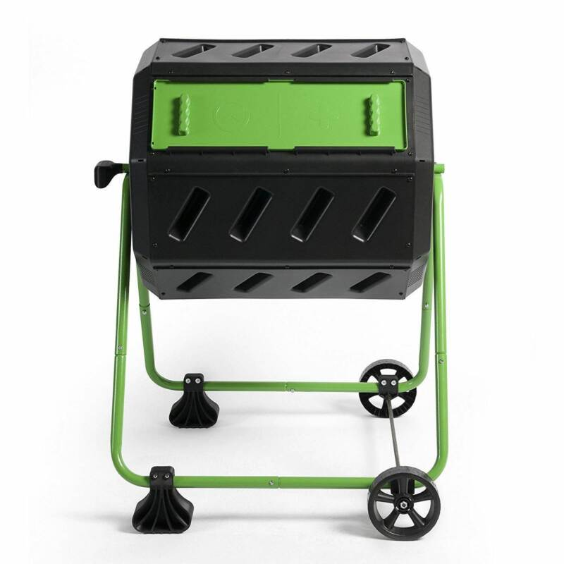 Hot Frog 37 Gal Dual Chamber Quick Curing Tumbling Composter Bin for Soil (Used)