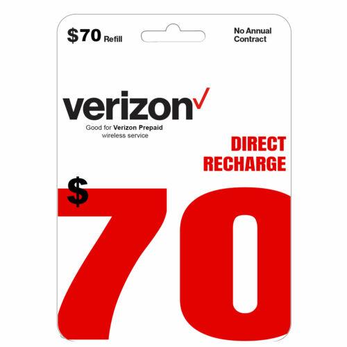 VERIZON Prepaid $70 Refill Top-Up Prepaid Card / DIRECT RECHARGE