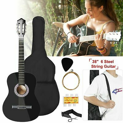 "Professional 38"" Acoustic Beginner Guitar Starter 6 String Folk Concert"