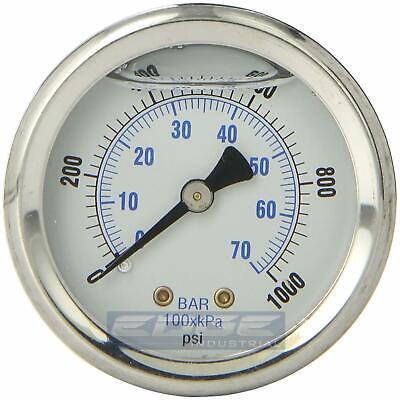 Liquid Filled Pressure Gauge 0-1000 Psi 2 Face 14 Back Mount