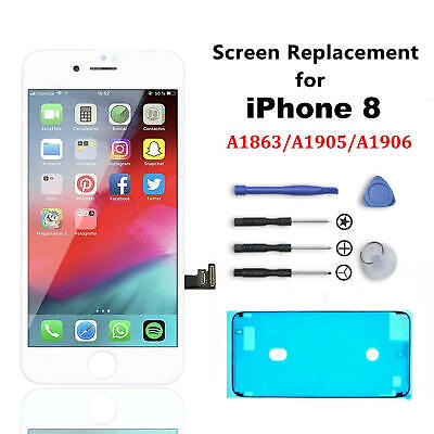 For iPhone 8 Genuine OEM IC Screen Replacement 3D Touch LCD Digitizer White