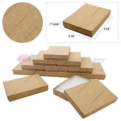 12 Brown Kraft Gift Jewelry Cotton Filled Boxes 5 38 X 3 78 X 1 Necklace