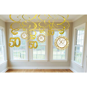 Amscan Golden 50th Party Hanging Swirl Decorations 12/pk Wedding Anniversary 344