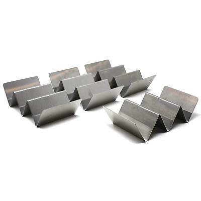 Set of 4 Stylish Stainless Steel Taco Holders, Restaurant Style Taco Stands Hold (Taco Holders)