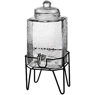 Glass Drink Dispenser (Beverage Dispenser Glass Jar Metal Stand 1.5 Gal Cold Drink Juice)