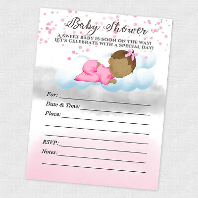 Baby Girl Shower Invitations Decoration Favor Card Sprinkle Invitation 20 count