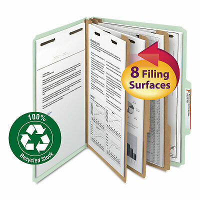Smead Pressboard Classification Folder 3 Exp. 6 Dividers Letter Graygreen 10