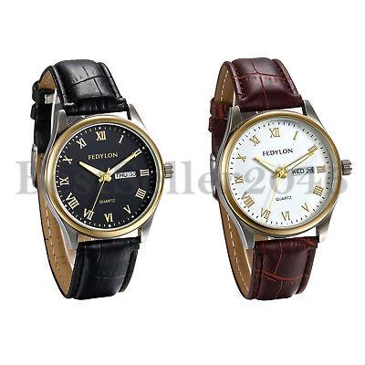 Men's Round Analog Day Date Calendar Faux Leather Band Quartz Sports Wrist Watch