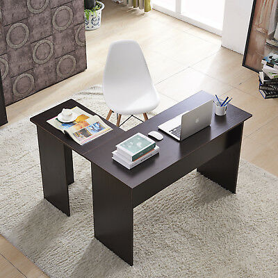 Wood L-Shaped Computer Desk Home Office Laptop PC Table 7191 Dark Brown for sale  USA