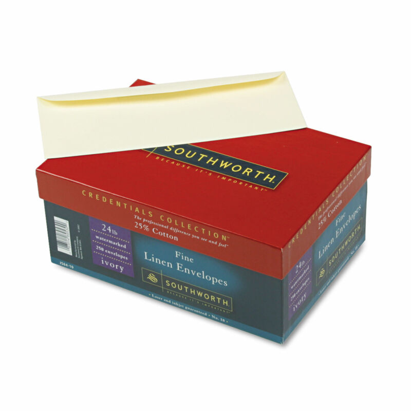 Southworth 25% Cotton #10 Envelope Ivory 24 lbs. Linen 250/Box FSC J56410