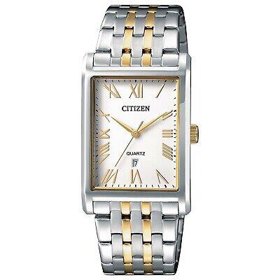 Citizen Quartz Men's Tonneau Roman Numerals Gold Tone 27mm Watch BH3004-59A