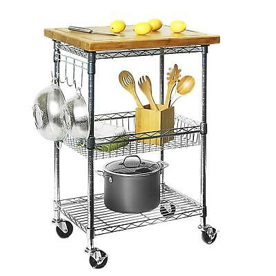 Prep Table Kitchen Islandutility Cart With Removeable Cutting Board Top