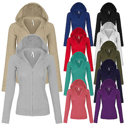 Women's Solid Casual Basic Zip Up Hoodie Long Sleeves Jackets S,M,L  Women Basic Hoodie Jacket