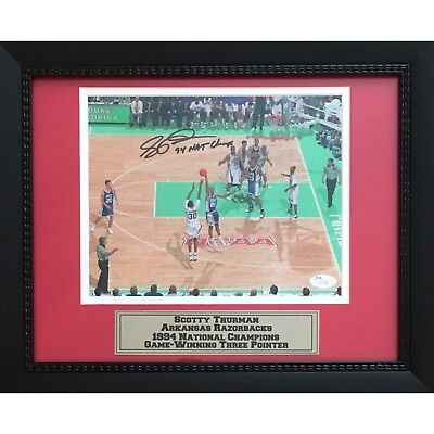 Autographed Basketball Photos - Scotty Thurman Autographed Arkansas Razorbacks 1994 Basketball 8x10 Framed Photo