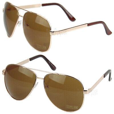 Fashion Mens Oversized Pilot Rose Gold Metal Frame Brown Lens Aviator Sunglasses