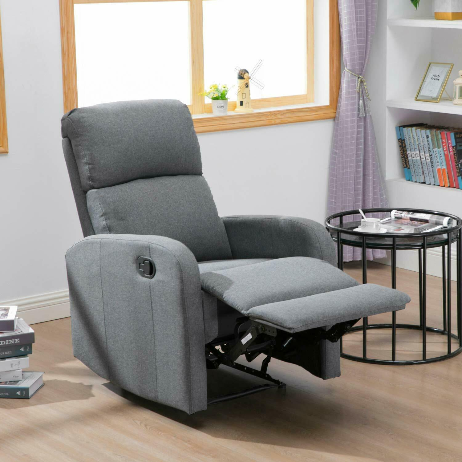 Single Sofa Recliner Chair Fabric Reclining Seat Living Room