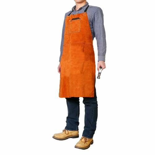 "Leather Welding Work Apron - Heat Resistant & Flame Resistant Bib Apron 24"" X 36"