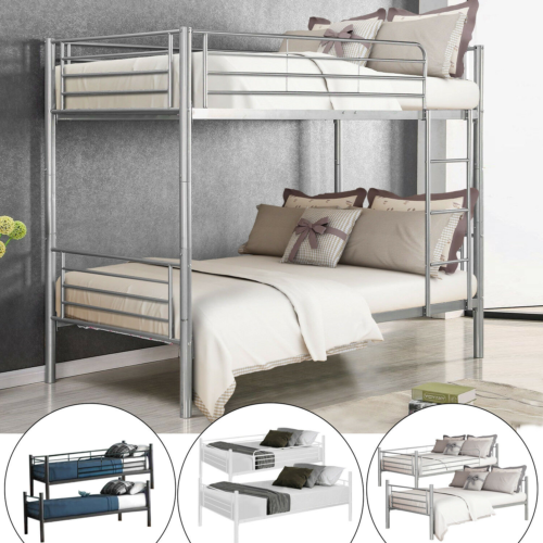Metal Bunk Beds Frame Twin Over Twin Size Ladder Kid Teen Adults