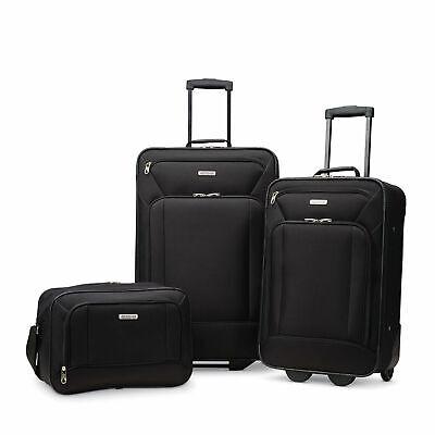 American Tourister Fieldbrook Xlt 3pc Skate Wheels Black Travel Luggage Bag Set