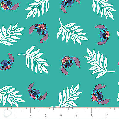 Disney Lilo & Stitch Palm Leaves in Turquoise 100% Cotton fabric by the - Lilo Leaf
